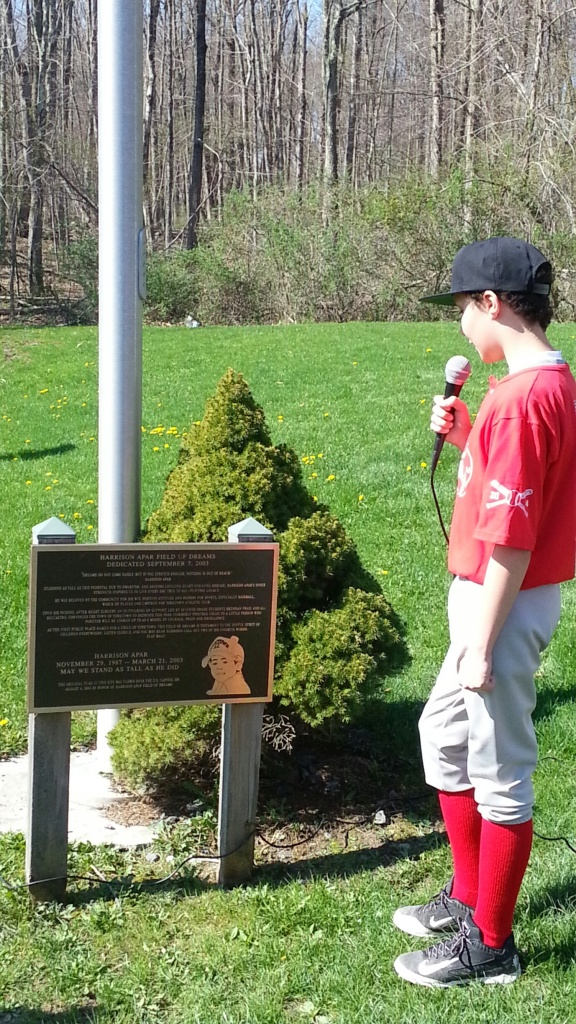 Joey DiPanfilo reading plaque at Field of Dreams